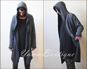 Oversized Men's Cardigan Glove Sleeve Raw Edges Rope Long Asymmetric Cut Kanye Jackets