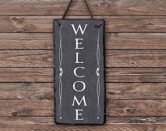 Outdoor Welcome Sign! Slate Welcome Sign, Outdoor Sign, Outdoor Plaque, Weatherproof Sign, Housewarming Gift, Wedding Gift. Slate Tile