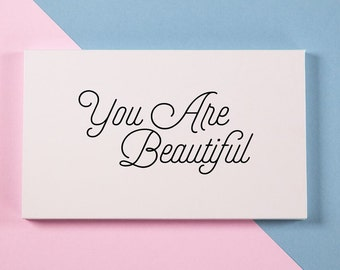 You Are Beautiful - Large Empty Magnetic Makeup Palette with Mirror
