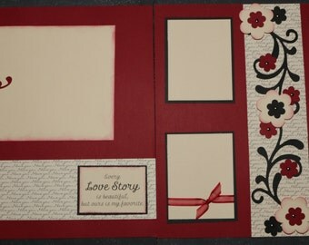 12X12 Scrapbook Page, double page layout, love, valentines day, swirls, flowers, red cardstock, black cardstock, cream cardstock