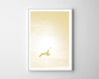 """ARTPRINT """"golden bird,"""" poster with flying Seagull to the wall decoration, DIN A4 poster in yellow gold, wall art, fine art posters"""