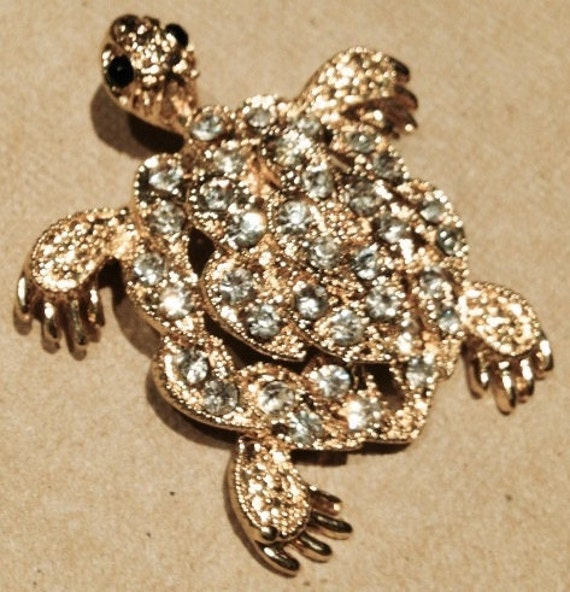 Turtle, Pin, Crystal, Goldplated