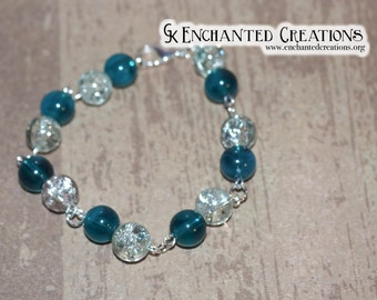 Teal/Blue Silver/Clear Beaded Bracelet