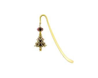 Fancy Jeweled Brass Bookmark