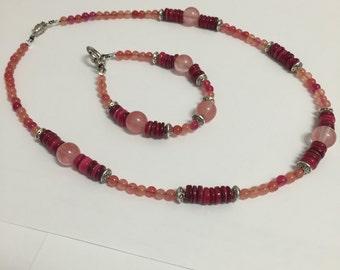 Glass Bead Pink Jewlery Set