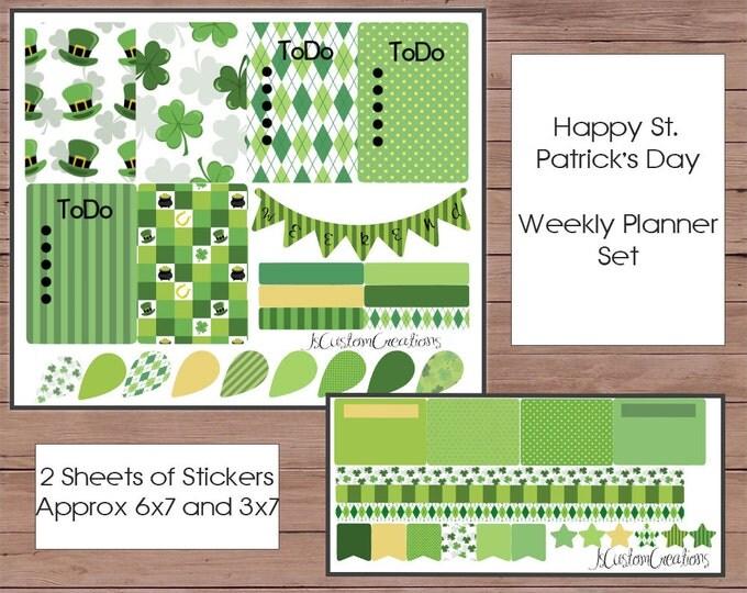 Saint Patrick's Day Sticker Set / Planner Sticker Set / Weekly Planner Set / Happy Planner Set / MAMBI