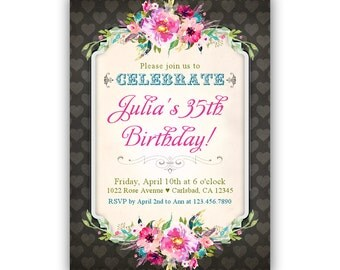35th invitation - 35th birthday invitation, 35th birthday invite, 35th birthday invite, 35th birthday invitations, 35th birthday invites