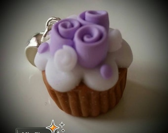 Purple cupcake necklace handmade Fimo