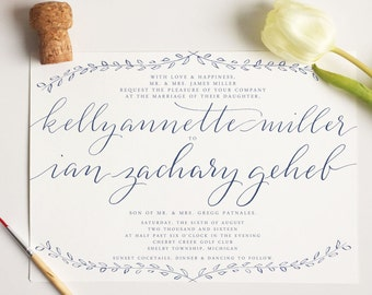 "modern calligraphy ""lombardy"" wedding invitation 