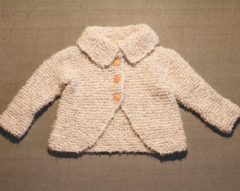 Hand-knitted  soft gray-pink little coat