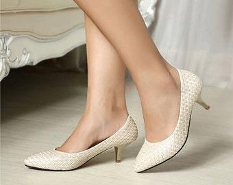 White Medium Heel Sandal