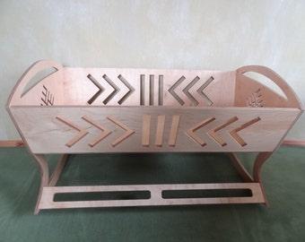 Baby cradle Latvian signs, wooden, cradle for newborn
