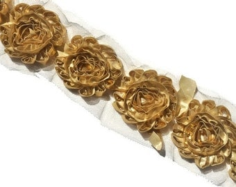 Metallic Gold Shabby Flowers, Shabby Chiffon Flowers, Wholesale Flowers, Headband Supplies, DIY Flowers, Fabric Flower Applique, #S2