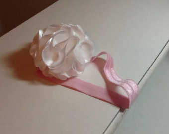 Baby Headband White Satin
