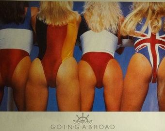 Going Abroad 23x35 80's Pin Up Girl Poster 1986 Bikini Models
