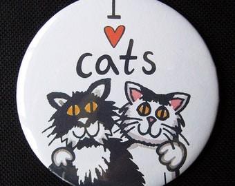 I Love Cats 7.5cm Pocket Mirror/Make up Mirror/Compact Mirror/Handbag Mirror