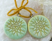 Round peony flower porcelain pendants Minty green glaze and yellow wash