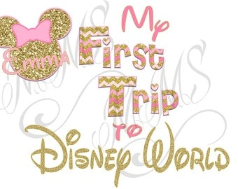 Personalized First Disney Trip Minnie Mickey Mouse DIY Iron On Digital Art Shirt Pink Gold Name