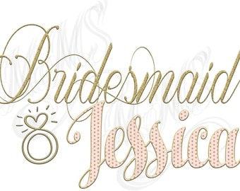 Custom Personalized Bridesmaid Script Gold Custom DIY Digital Design Art File T-Shirt Top Bachelorette Bridal Party Bridesmaid