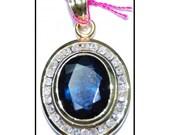 Blue Sapphire Diamond Solitaire Pendant 18K Yellow Gold [P_156]