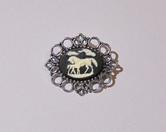 Black and White Horse w Foal Cameo Brooch
