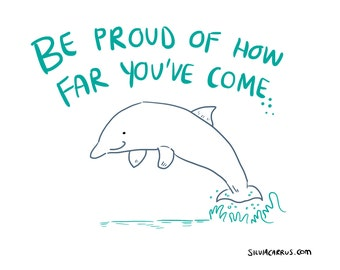 A3 Encouraging Dolphin Print