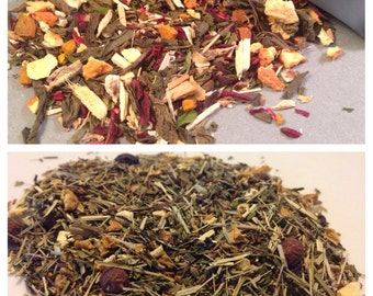 Loose Leaf Detox Tea Duo, The Cleanse Morning Tea, Night Time Detox Tea, Green Tea, Red Tea, Peppermint, Ginger, Lemon, Orange, Turmeric Tea