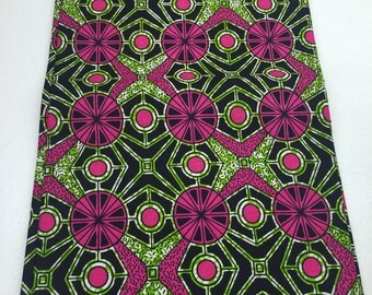 Pink and Green Kaleidoscope African Print Fabric