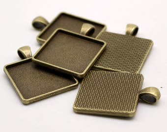 50 Pcs of SQUARE Antique Brass Bezel - for 25mmX25mm GLASS Magnifying Domes Cabochon - Pendant Blank Bezel . for Cabochon, Photo Jewelry