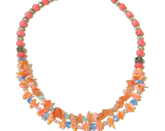 Coral beaded choker necklace.