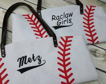 Personalized baseball sports tote bag