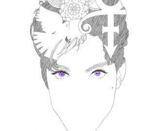 Prince - Giclee Print of Original Prince Drawing, Doves Cry, Symbol