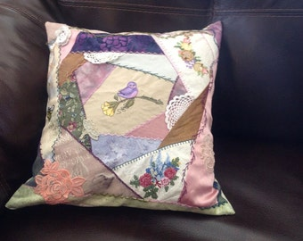 Quilted, Hand Embroidered Vintage Pillow Case