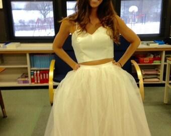 Full Length Ivory Tulle Wedding Skirt with dusty rose taffeta underskirt/Formal skirt/Princess skirt/Beach Wedding Skirt/Boho wedding