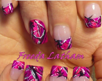 Camo nail decal etsy 30 hand painted hot purple camo nail decals from the signature collection prinsesfo Image collections