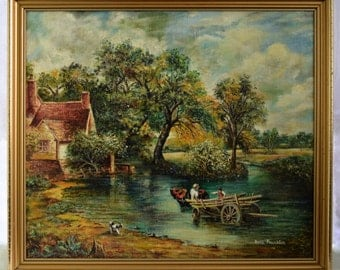 LARGE Rene Franklin Signed Oil Painting - Oil Reproduction of John Constable - Vintage Art 55.5cm x 63.5cm