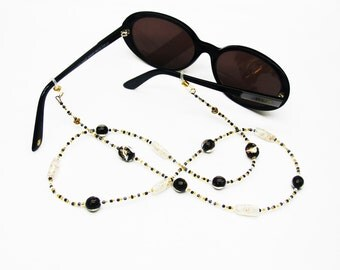 Cord sunglasses black gold and White Pearl Jewelry fancy eyeglass, handmade glasses cord