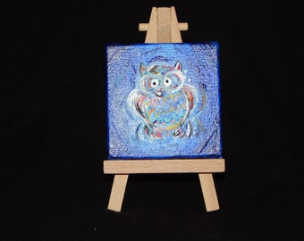 3x3 Owl painting on easel