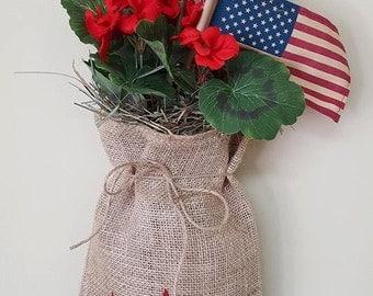 Patriotic Hanging Burlap Bag
