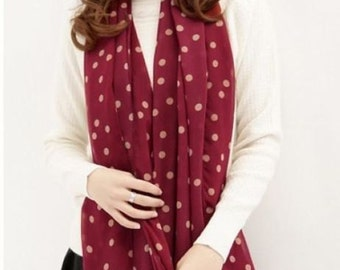 Red and pink polka dot scarf