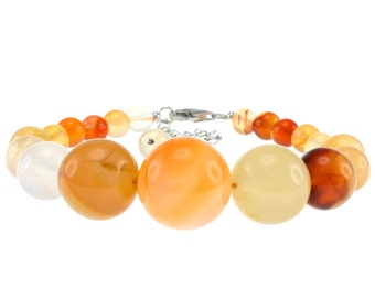 6-14mm Round, Carnelian, 6.5 Inches, Journey Bracelet with Sterling Silver Clasp and 2 Inches Extention OPB-4817