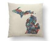 "16"" Loud Colorful Swirl Michigan State Pillow w/ Insert, Throw Pillow, State Art, Michigan Gift, Housewarming Gift, Map Pillow, Throw Pillow"