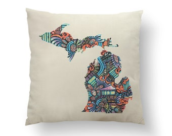 "16"" Loud Colorful Swirl Michigan State Pillow w/ Insert, Throw Pillow, State Art, Michigan Gift, Housewarming Gift, Map Pillow, Throw Pillow"