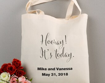 Personalized wedding totes with bride and groom's Initials, Wedding Favors
