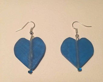 Blue heart frosted sea glass dangly earrings