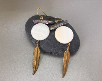 Gold Mother of Pearl Feather Earrings