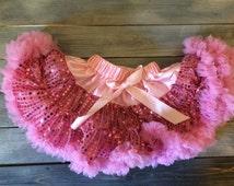 Extra Fluffy Pettiskirt Tutu- Baby 1st Birthday- One year old girl petti skirt tutu- 1 year old girl birthday outfit-one year old girl-