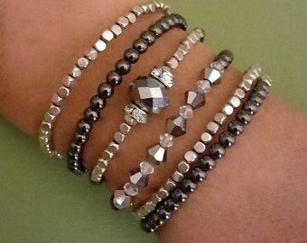 Hematite/Clear and Gun Metal Gray Swarovski Wrap Bracelet