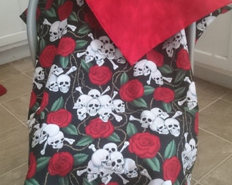 Skulls and Roses tattoo carseat canopy cover