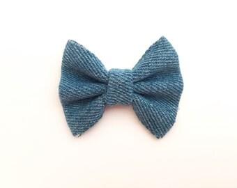 MINI Denim Bow, baby headband, baby hair bow, headband, baby hair clip, baby girl, girl toddler, baby gift